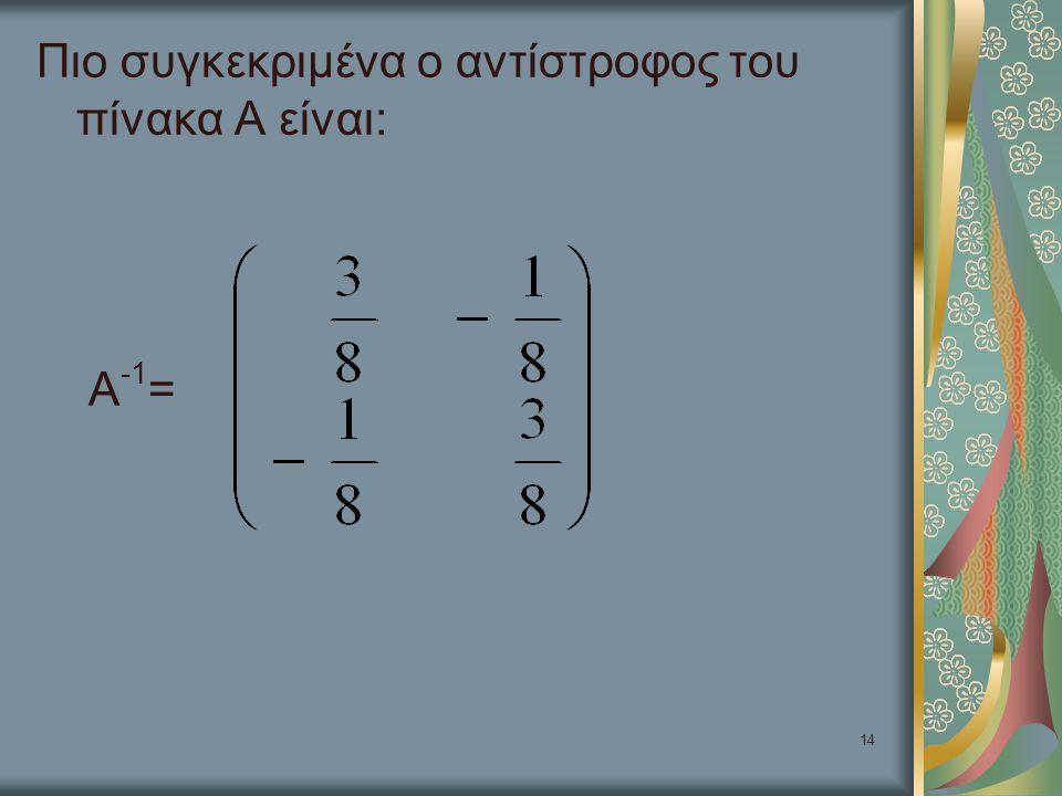 Πιο συγκεκριμένα ο αντίστροφος του πίνακα Α είναι: Α-1=