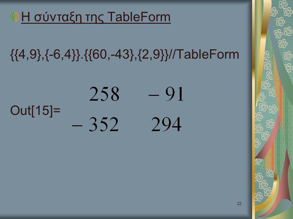 Η σύνταξη της TableForm