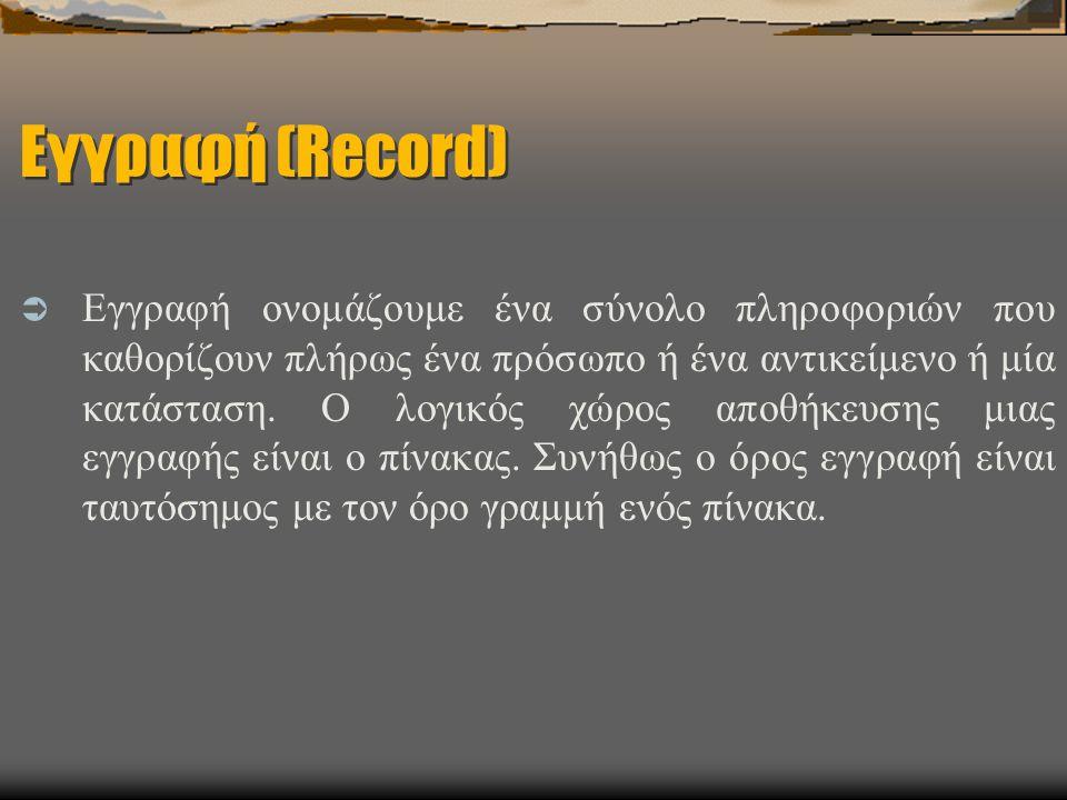 Εγγραφή (Record)