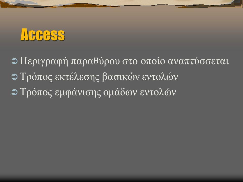 Access Περιγραφή παραθύρου στο οποίο αναπτύσσεται