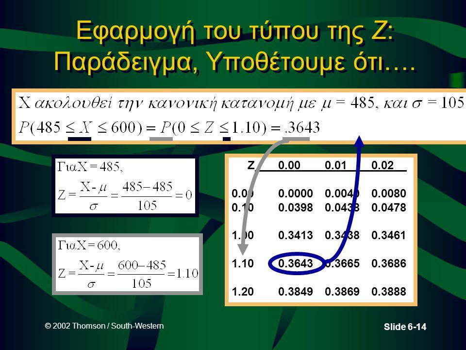 Εφαρμογή του τύπου της Z: Παράδειγμα, Υποθέτουμε ότι….