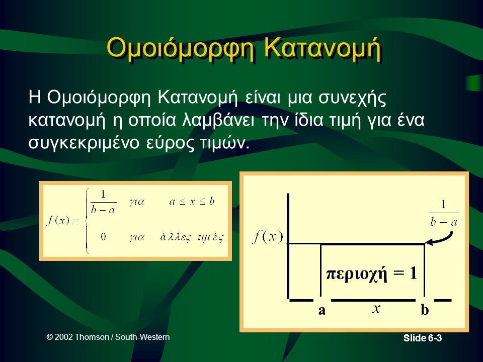 Ομοιόμορφη Κατανομή Η Ομοιόμορφη Κατανομή είναι μια συνεχής κατανομή η οποία λαμβάνει την ίδια τιμή για ένα συγκεκριμένο εύρος τιμών.