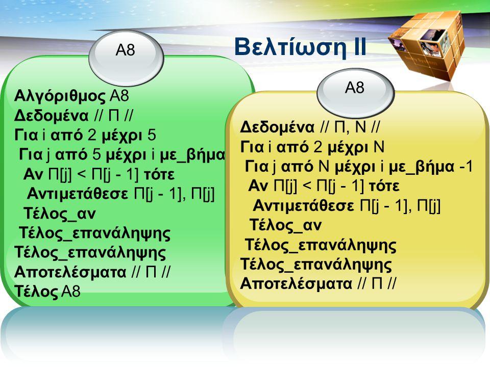 Βελτίωση II Α8 Αλγόριθμος Α8 Δεδομένα // Π // Για i από 2 μέχρι 5