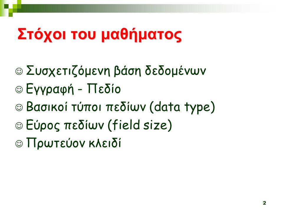 Στόχοι του μαθήματος Συσχετιζόμενη βάση δεδομένων Εγγραφή - Πεδίο