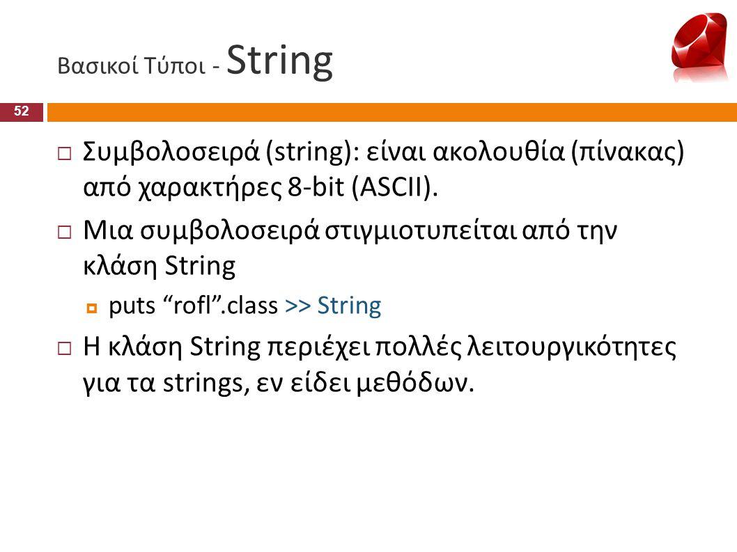 Μια συμβολοσειρά στιγμιοτυπείται από την κλάση String