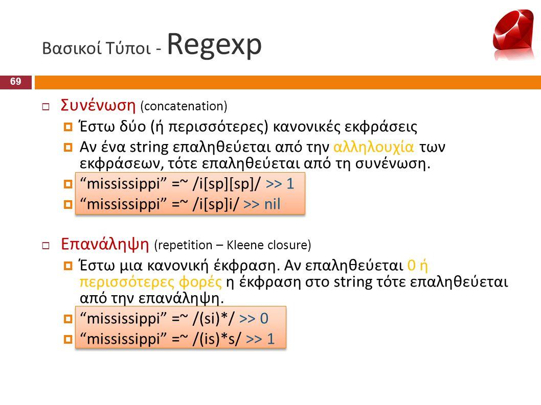 Βασικοί Τύποι - Regexp Συνένωση (concatenation)