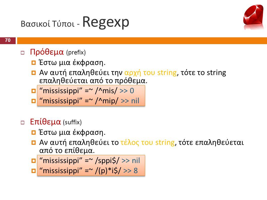 Βασικοί Τύποι - Regexp Πρόθεμα (prefix) Επίθεμα (suffix)