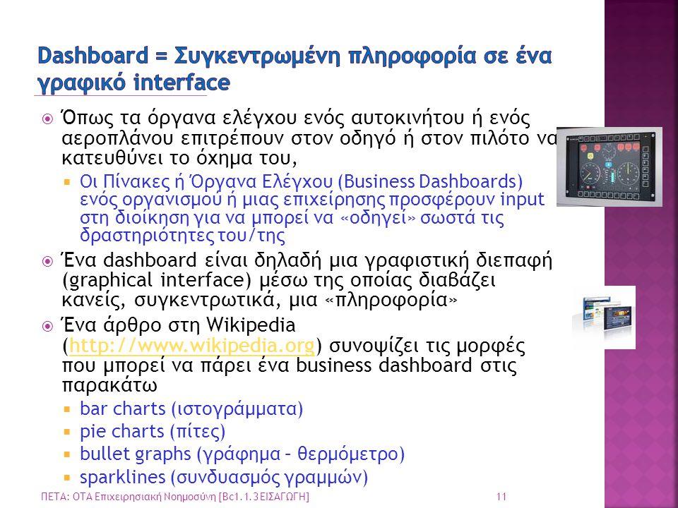 Dashboard = Συγκεντρωμένη πληροφορία σε ένα γραφικό interface