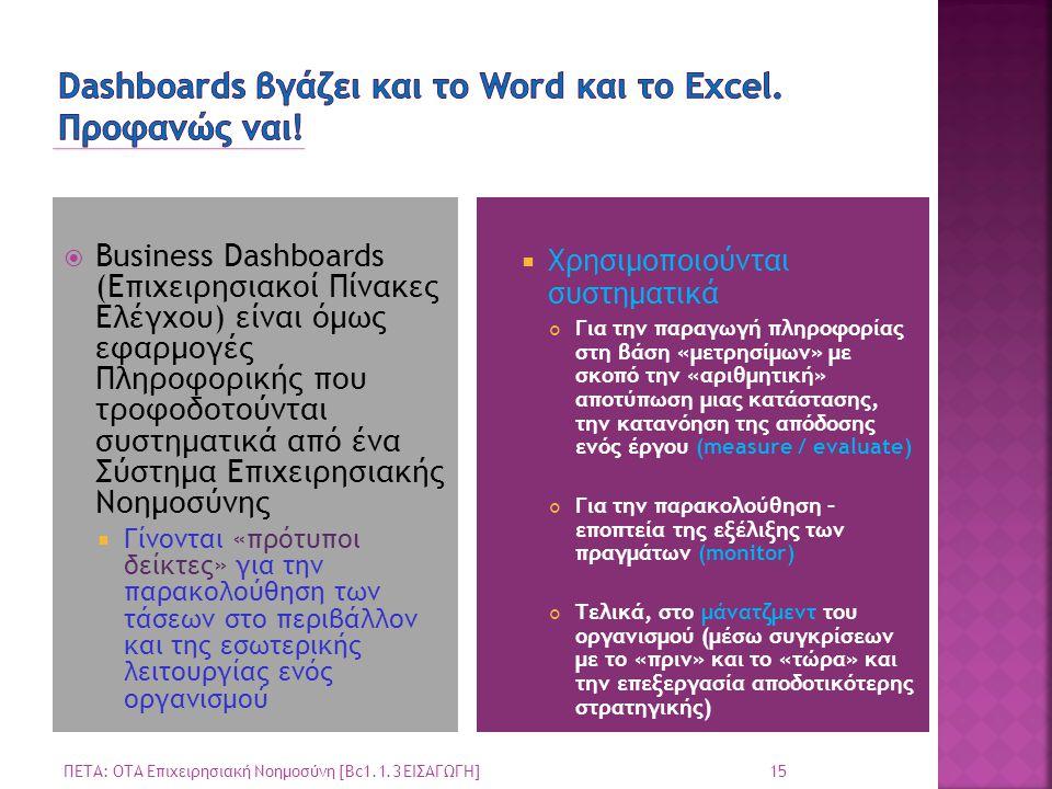 Dashboards βγάζει και το Word και το Excel. Προφανώς ναι!