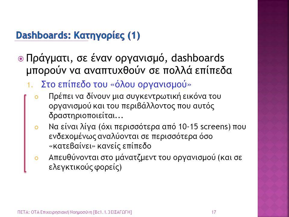 Dashboards: Κατηγορίες (1)