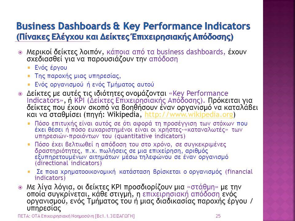 Business Dashboards & Key Performance Indicators (Πίνακες Ελέγχου και Δείκτες Έπιχειρησιακής Απόδοσης)