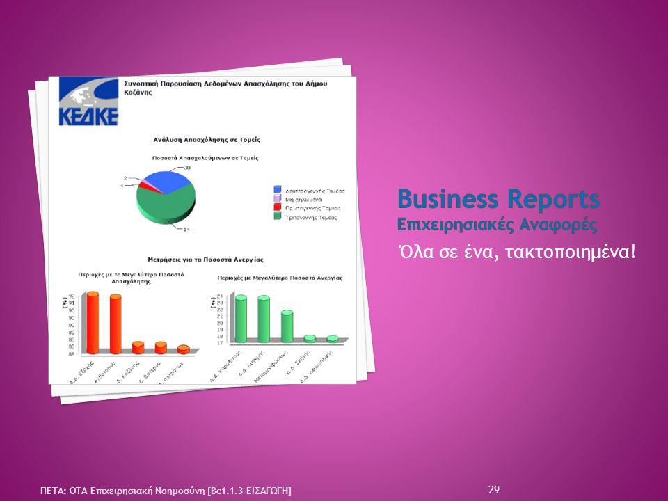 Business Reports Επιχειρησιακές Αναφορές