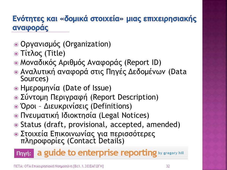 Ενότητες και «δομικά στοιχεία» μιας επιχειρησιακής αναφοράς