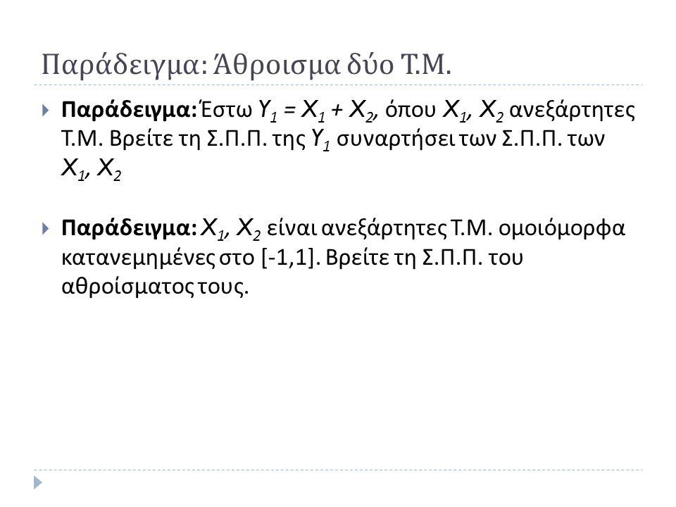 Παράδειγμα: Άθροισμα δύο Τ.Μ.