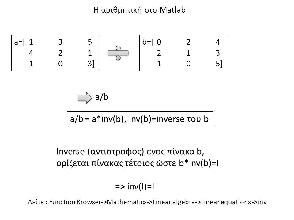 a/b = a*inv(b), inv(b)=inverse του b