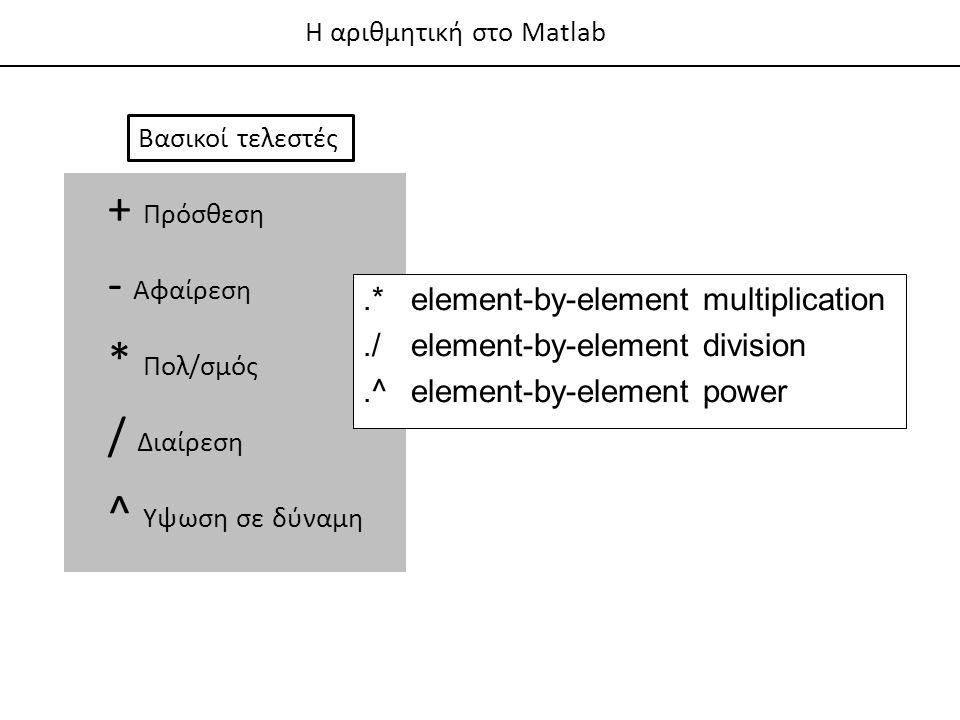 + Πρόσθεση - Αφαίρεση * Πολ/σμός / Διαίρεση ^ Υψωση σε δύναμη