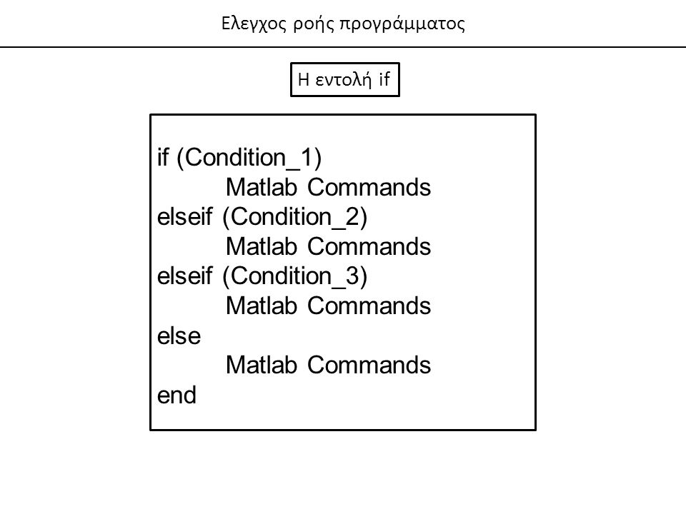 if (Condition_1) Matlab Commands elseif (Condition_2)