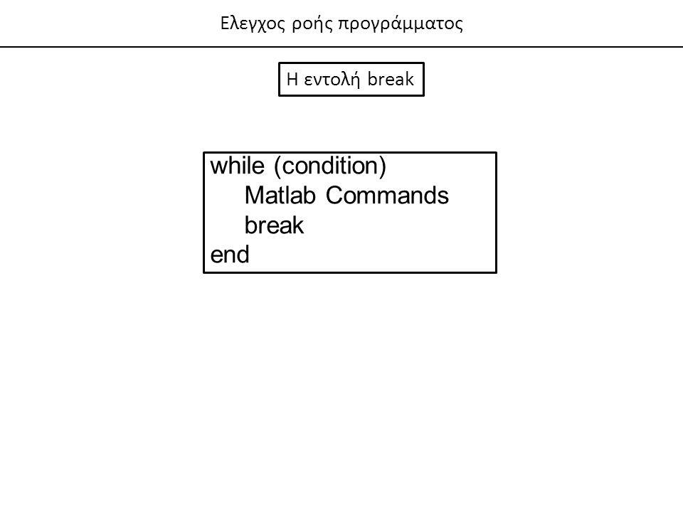 while (condition) Matlab Commands break end Ελεγχος ροής προγράμματος
