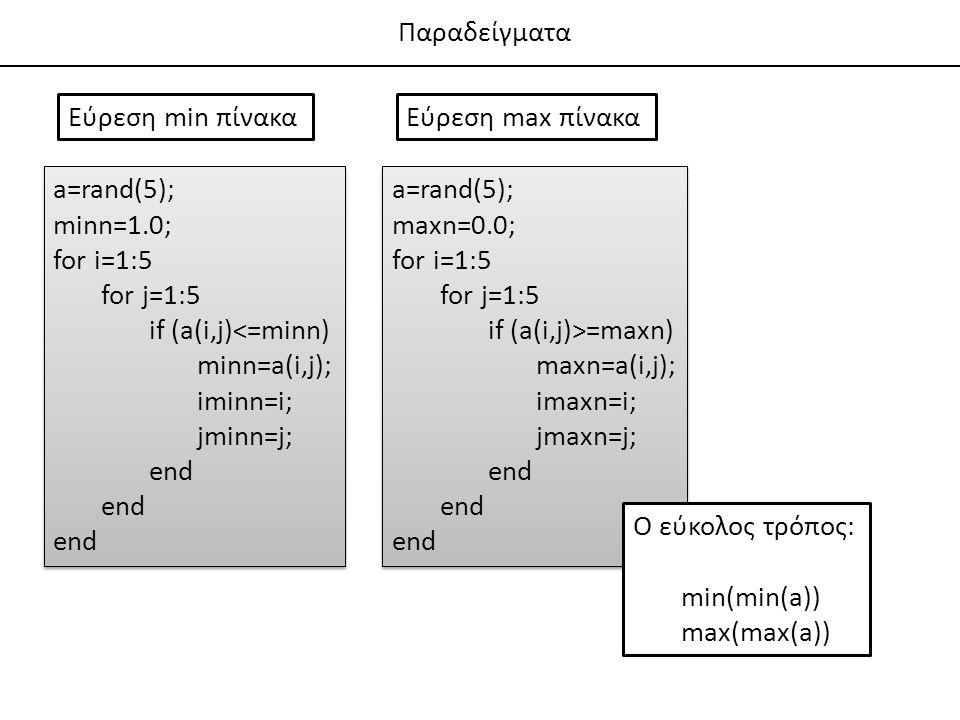 Παραδείγματα Εύρεση min πίνακα. Εύρεση max πίνακα. a=rand(5); minn=1.0; for i=1:5. for j=1:5. if (a(i,j)<=minn)