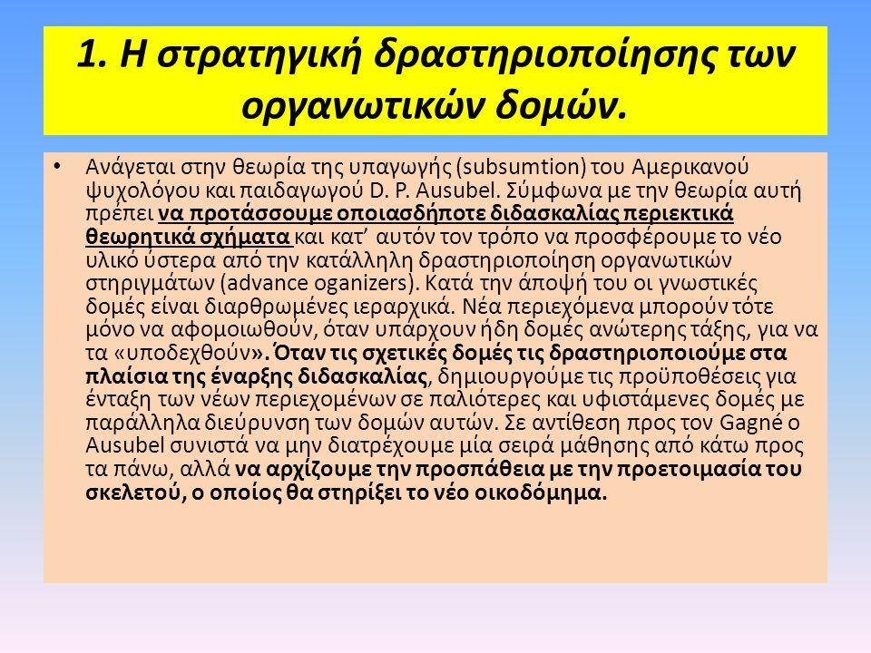 1. Η στρατηγική δραστηριοποίησης των οργανωτικών δομών.
