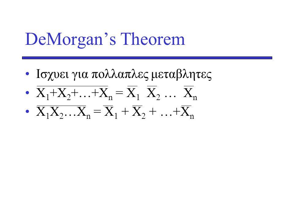 DeMorgan's Theorem Ισχυει για πολλαπλες μεταβλητες