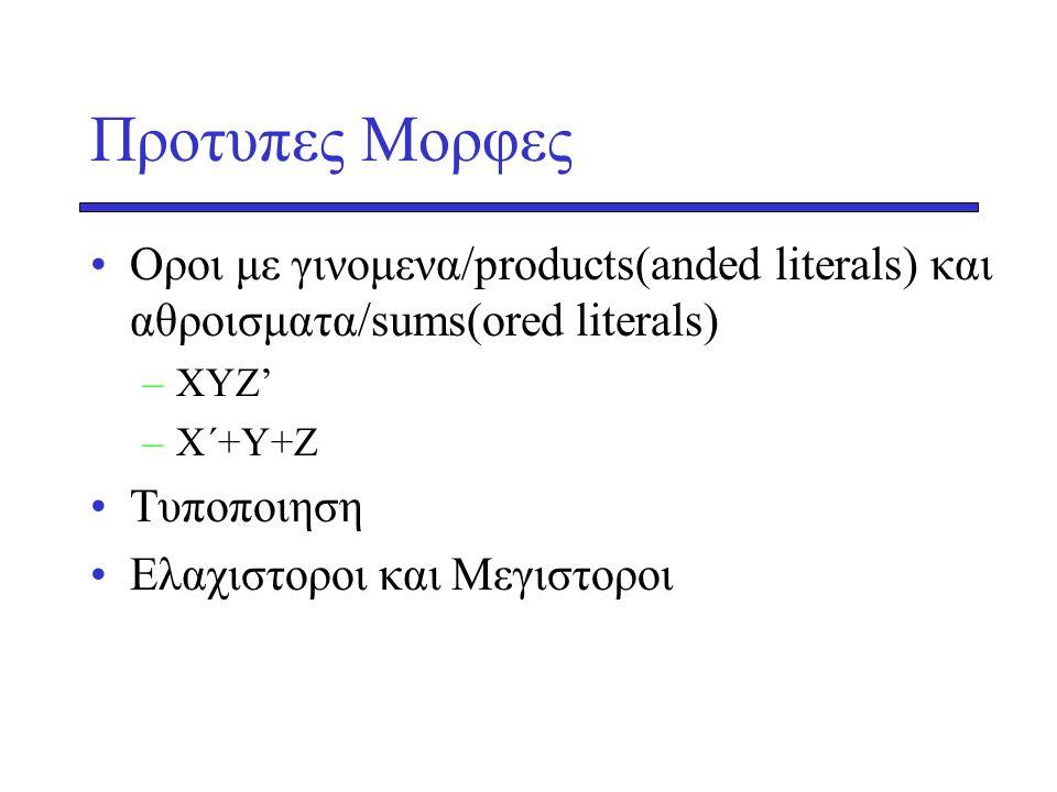 Προτυπες Μορφες Οροι με γινομενα/products(anded literals) και αθροισματα/sums(ored literals) ΧΥΖ' Χ΄+Υ+Ζ.