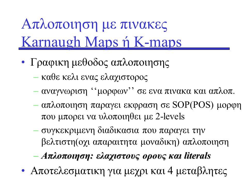 Aπλοποιηση με πινακες Κarnaugh Maps ή K-maps