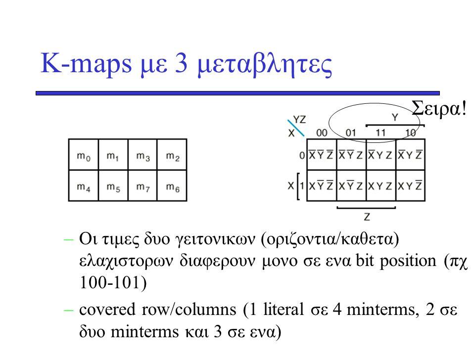 K-maps με 3 μεταβλητες Σειρα!