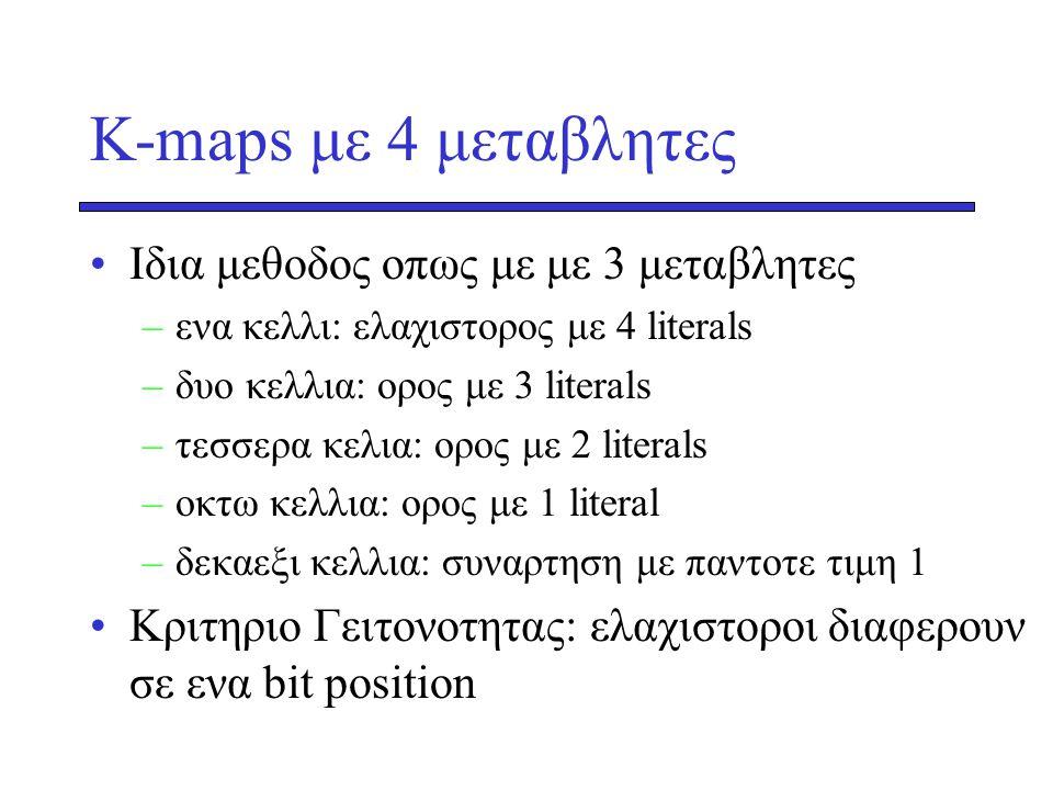 K-maps με 4 μεταβλητες Ιδια μεθοδος οπως με με 3 μεταβλητες
