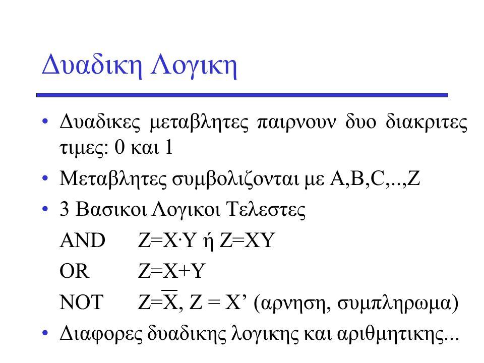 Δυαδικη Λογικη Δυαδικες μεταβλητες παιρνουν δυο διακριτες τιμες: 0 και 1. Μεταβλητες συμβολιζονται με Α,Β,C,..,Z.