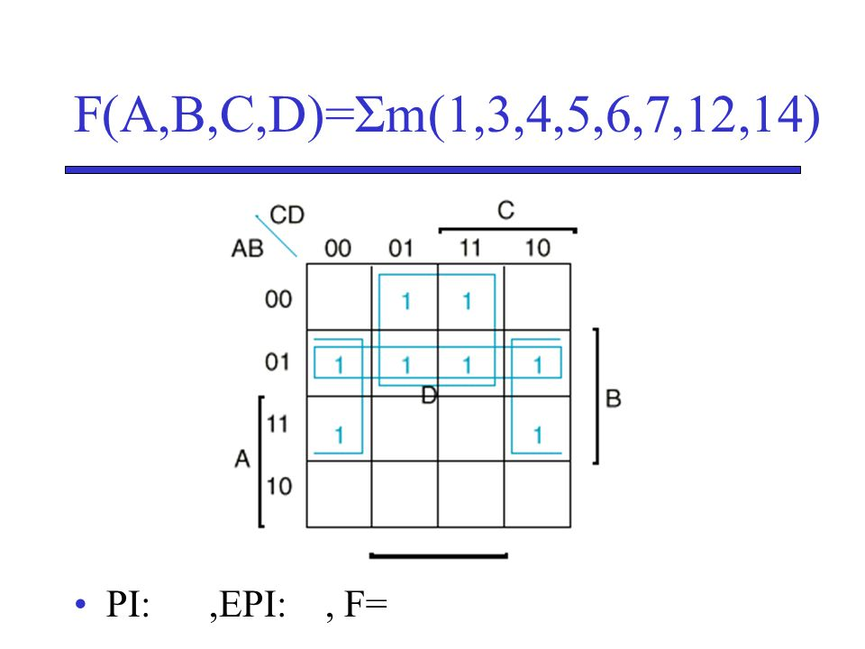 F(A,B,C,D)=Σm(1,3,4,5,6,7,12,14) PI: ,EPI: , F=