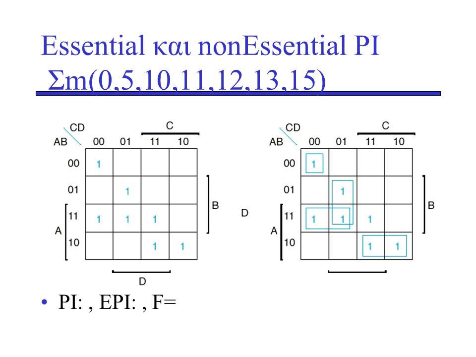Essential και nonEssential PI Σm(0,5,10,11,12,13,15)