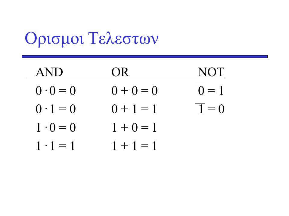 Oρισμοι Τελεστων AND OR NOT 0 . 0 = 0 0 + 0 = 0 0 = 1