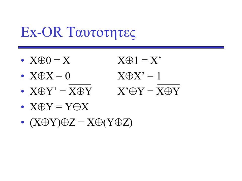 Ex-OR Tαυτοτητες X0 = X X1 = X' XΧ = 0 XΧ' = 1