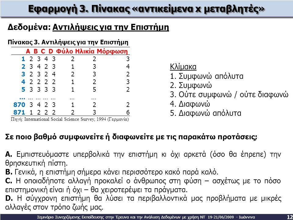 Εφαρμογή 3. Πίνακας «αντικείμενα x μεταβλητές»