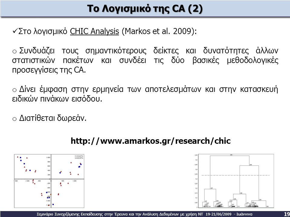 Το Λογισμικό της CA (2) Στο λογισμικό CHIC Analysis (Markos et al. 2009):