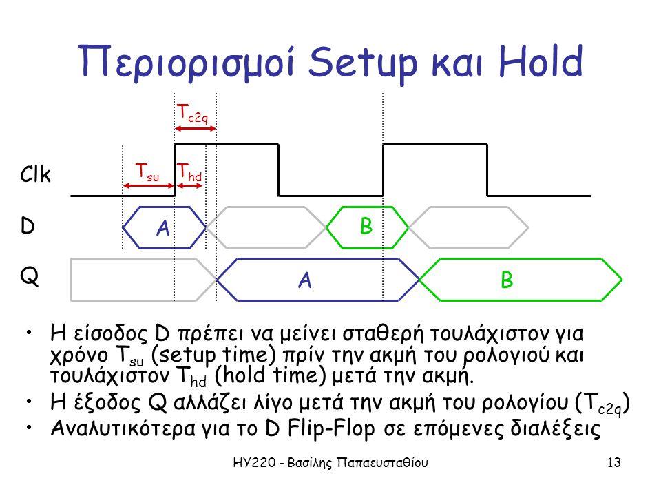 Περιορισμοί Setup και Hold