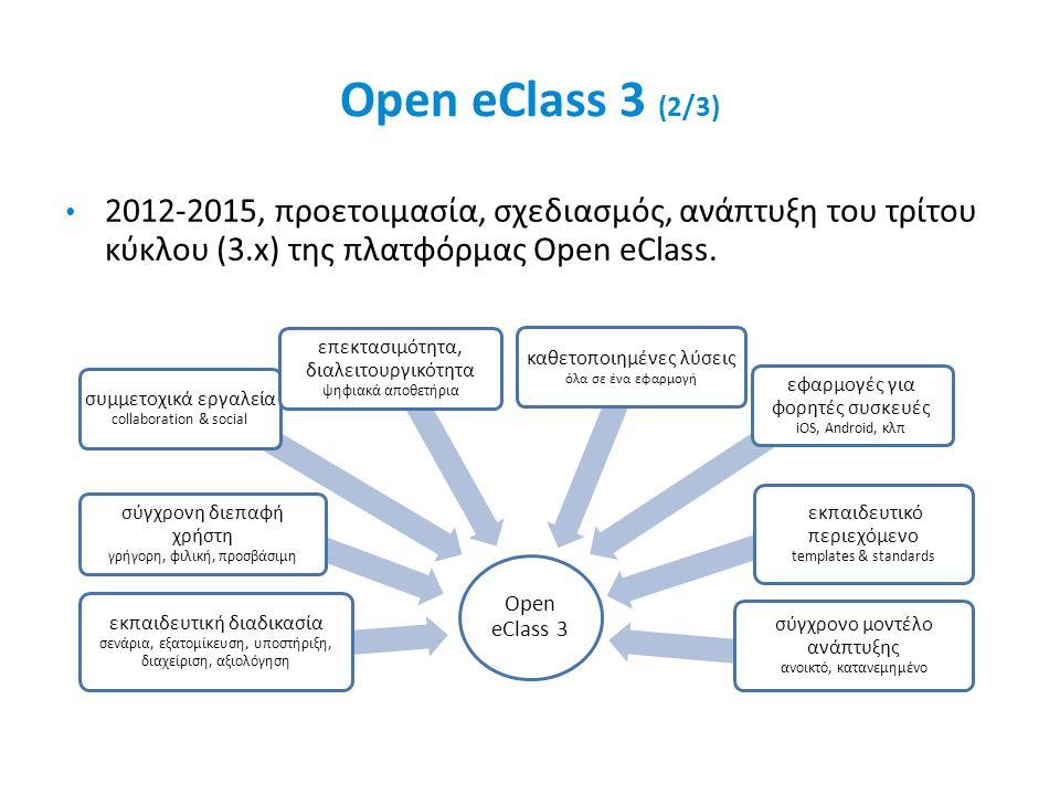 Open eClass 3 (2/3) 2012-2015, προετοιμασία, σχεδιασμός, ανάπτυξη του τρίτου κύκλου (3.x) της πλατφόρμας Open eClass.