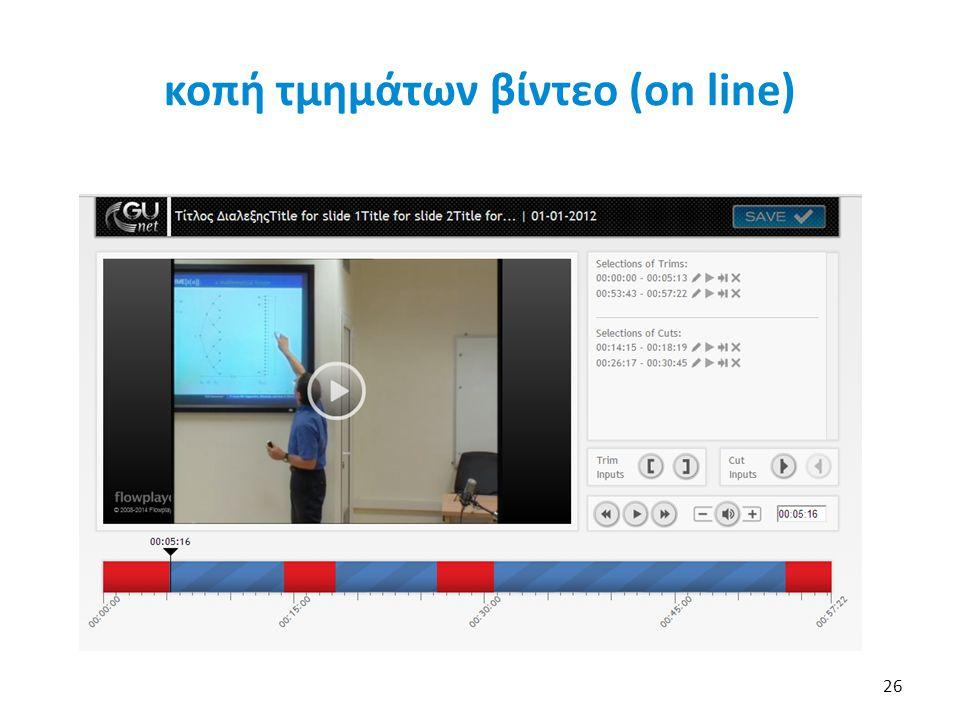 κοπή τμημάτων βίντεο (on line)