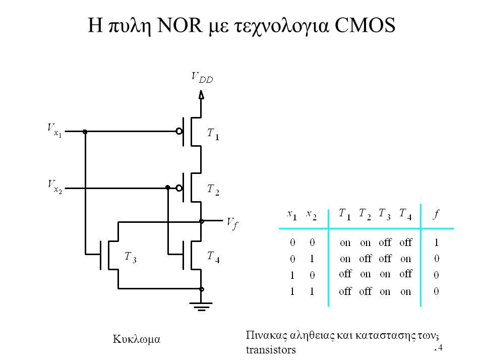 H πυλη NOR με τεχνολογια CMOS