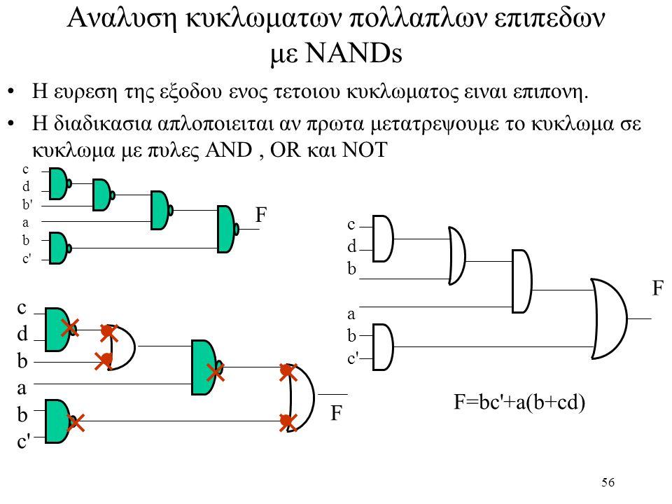 Αναλυση κυκλωματων πολλαπλων επιπεδων με NANDs