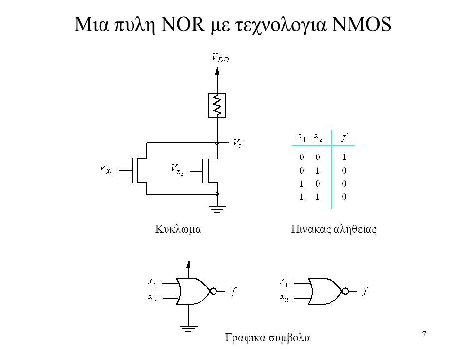 Μια πυλη NOR με τεχνολογια NMOS