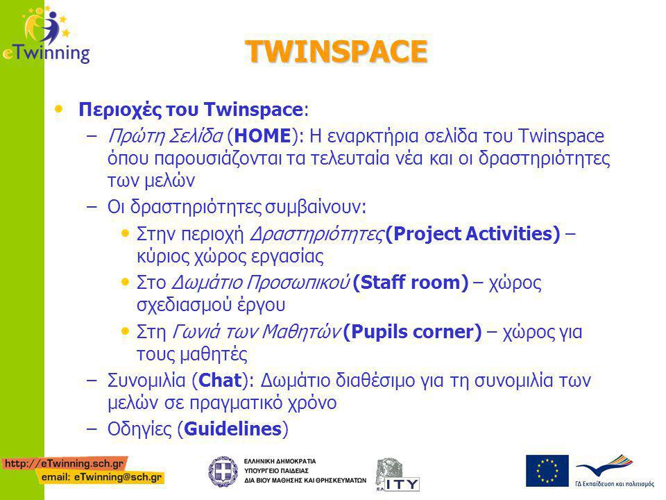 TWINSPACE Περιοχές του Twinspace: