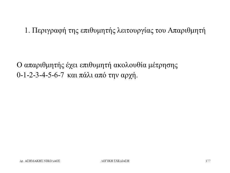 1. Περιγραφή της επιθυμητής λειτουργίας του Απαριθμητή