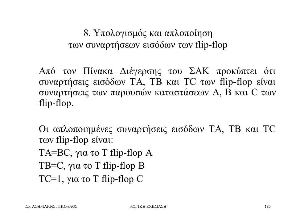 8. Υπολογισμός και απλοποίηση των συναρτήσεων εισόδων των flip-flop