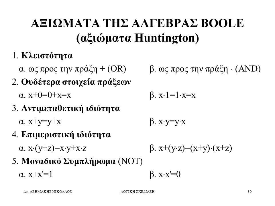ΑΞΙΩΜΑΤΑ ΤΗΣ ΑΛΓΕΒΡΑΣ BOOLE (αξιώματα Huntington)