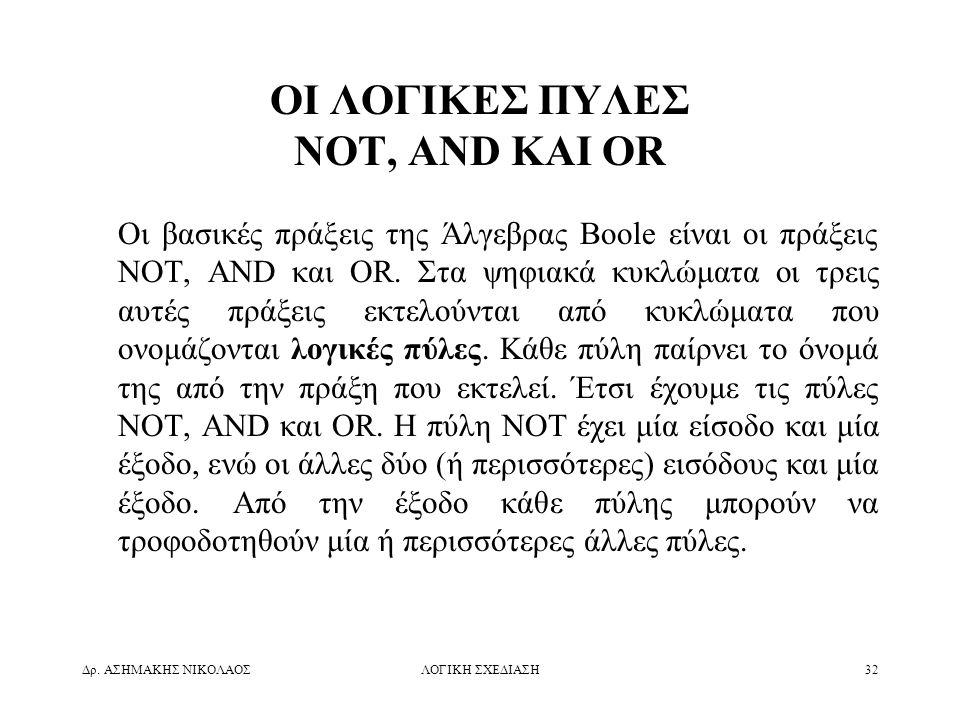 ΟΙ ΛΟΓΙΚΕΣ ΠΥΛΕΣ NOT, AND ΚΑΙ OR