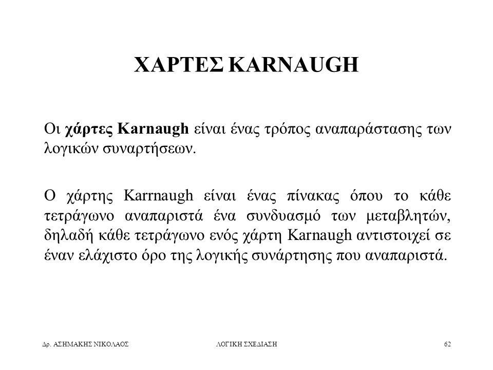 ΧΑΡΤΕΣ KARNAUGH Οι χάρτες Karnaugh είναι ένας τρόπος αναπαράστασης των λογικών συναρτήσεων.