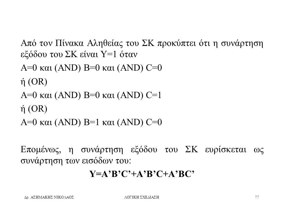 Y=A'B'C'+A'B'C+A'BC'