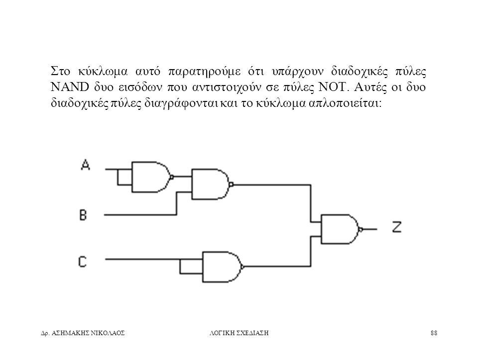 Στο κύκλωμα αυτό παρατηρούμε ότι υπάρχουν διαδοχικές πύλες NAND δυο εισόδων που αντιστοιχούν σε πύλες ΝΟΤ. Αυτές οι δυο διαδοχικές πύλες διαγράφονται και το κύκλωμα απλοποιείται:
